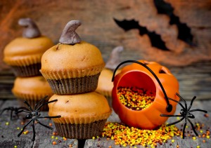 Pumpkin muffins decorated for Halloween celebration